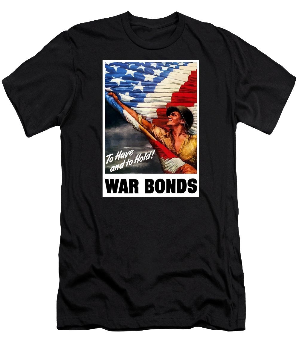 American Flag Men's T-Shirt (Athletic Fit) featuring the painting To Have And To Hold - War Bonds by War Is Hell Store