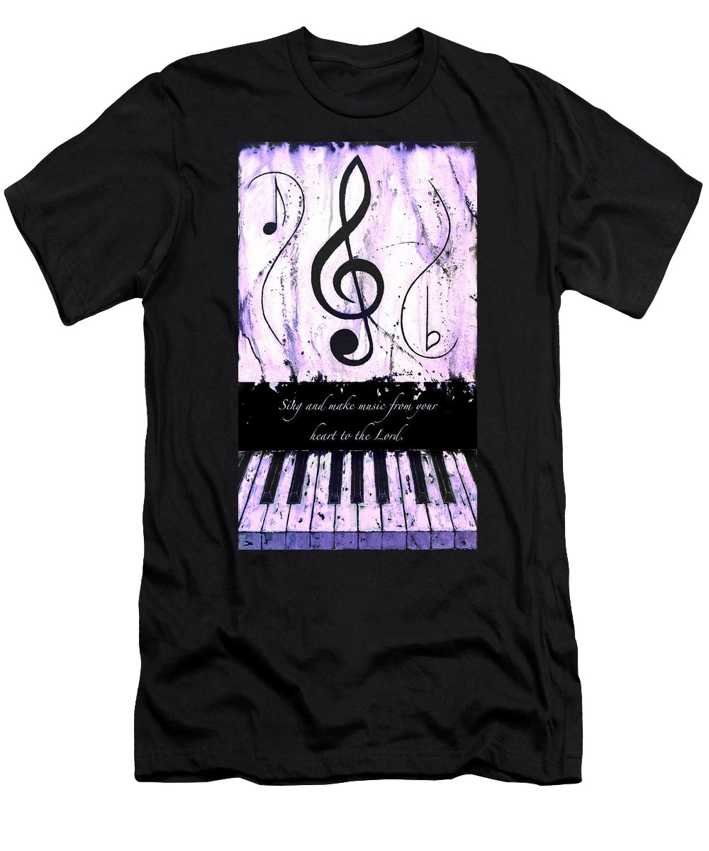 To The Lord - Purple Men's T-Shirt (Athletic Fit) featuring the mixed media To The Lord - Purple by Wayne Cantrell