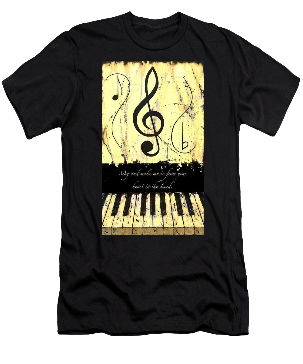 To The Lord - Yellow Men's T-Shirt (Athletic Fit) featuring the mixed media To The Lord - Yellow by Wayne Cantrell