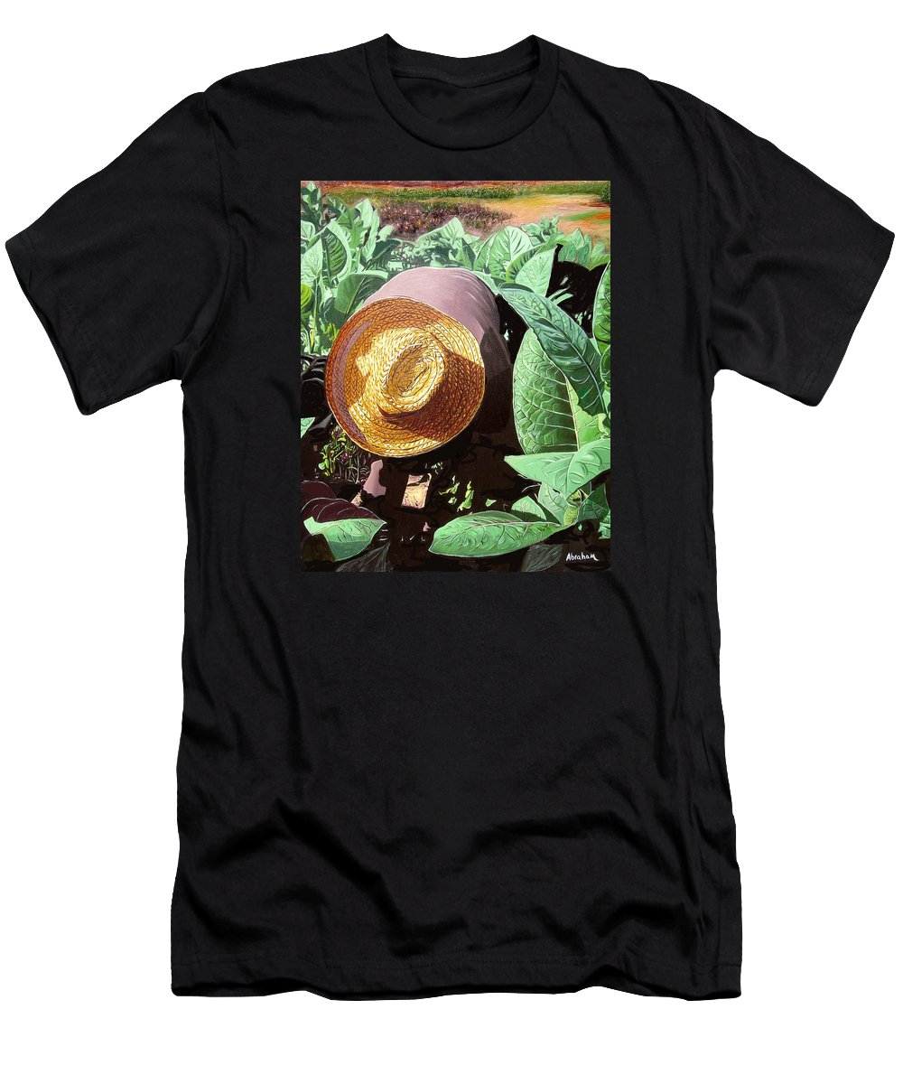 Tobacco Men's T-Shirt (Athletic Fit) featuring the painting Tobacco Picker by Jose Manuel Abraham