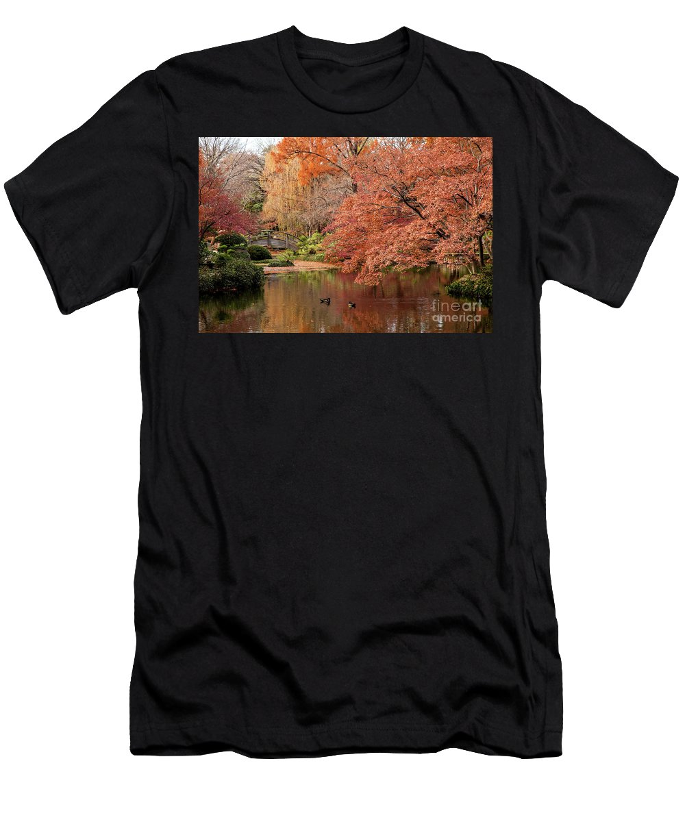 Ducks Men's T-Shirt (Athletic Fit) featuring the photograph Together In Fall by Iris Greenwell