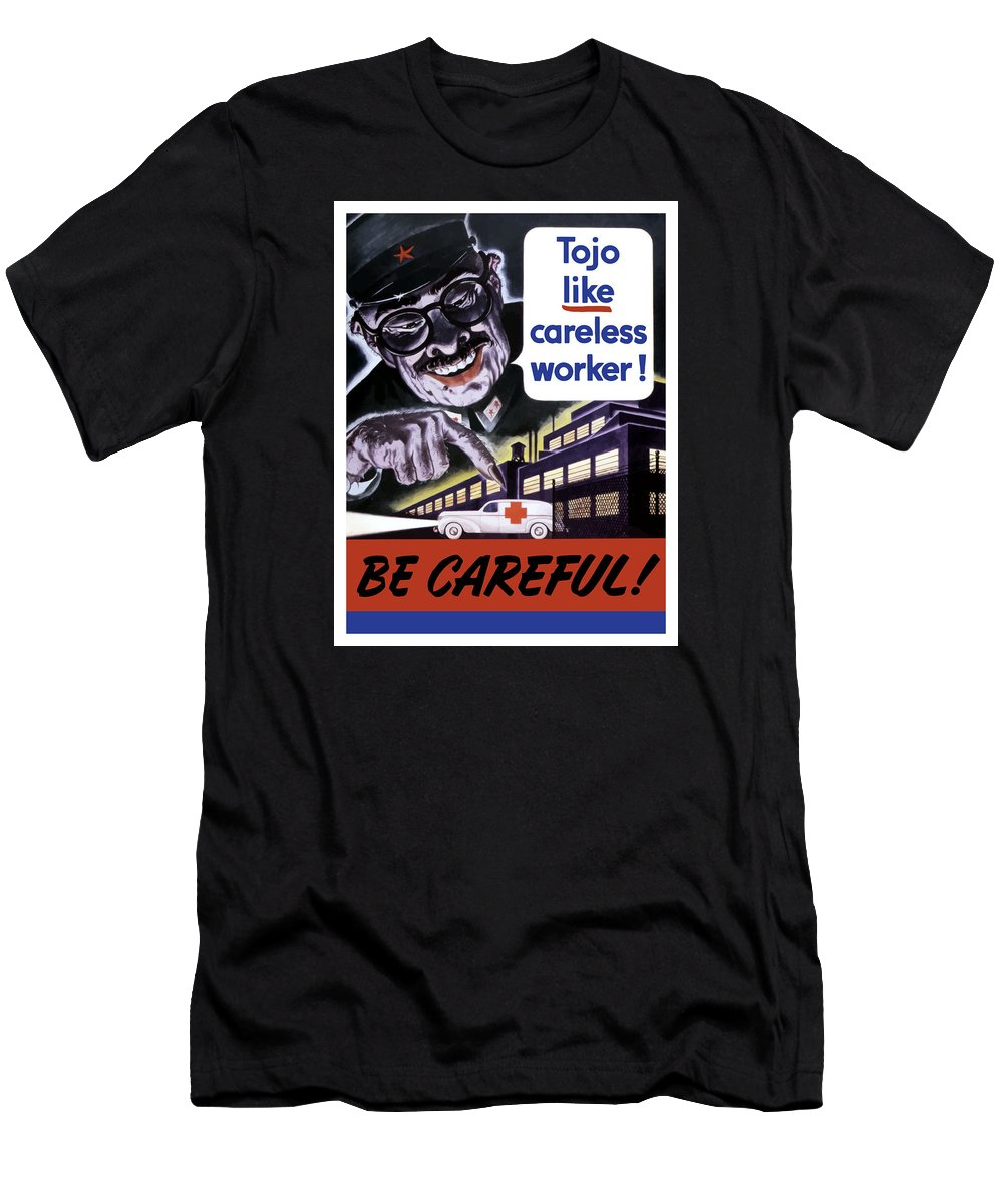 Tojo Men's T-Shirt (Athletic Fit) featuring the painting Tojo Like Careless Workers - Ww2 by War Is Hell Store