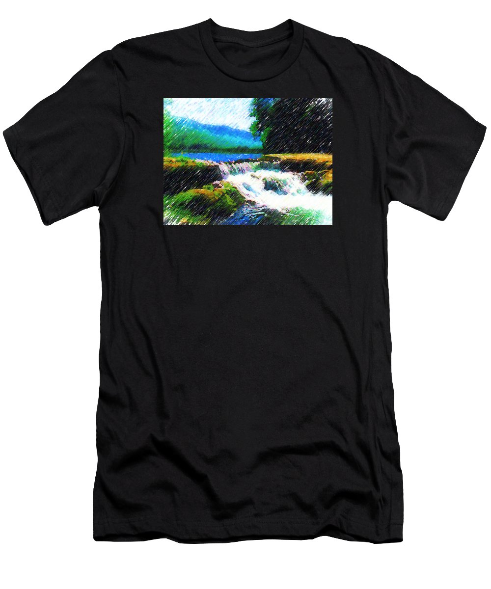 Landscape Men's T-Shirt (Athletic Fit) featuring the photograph Tolhuaca by Madalena Lobao-Tello