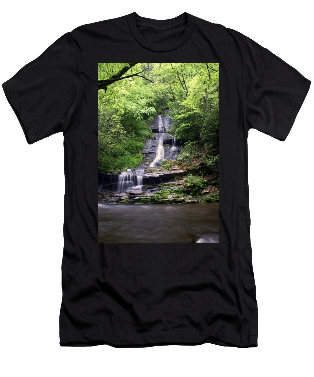 Waterfalls Men's T-Shirt (Athletic Fit) featuring the photograph Tom Branch Falls by Marty Koch