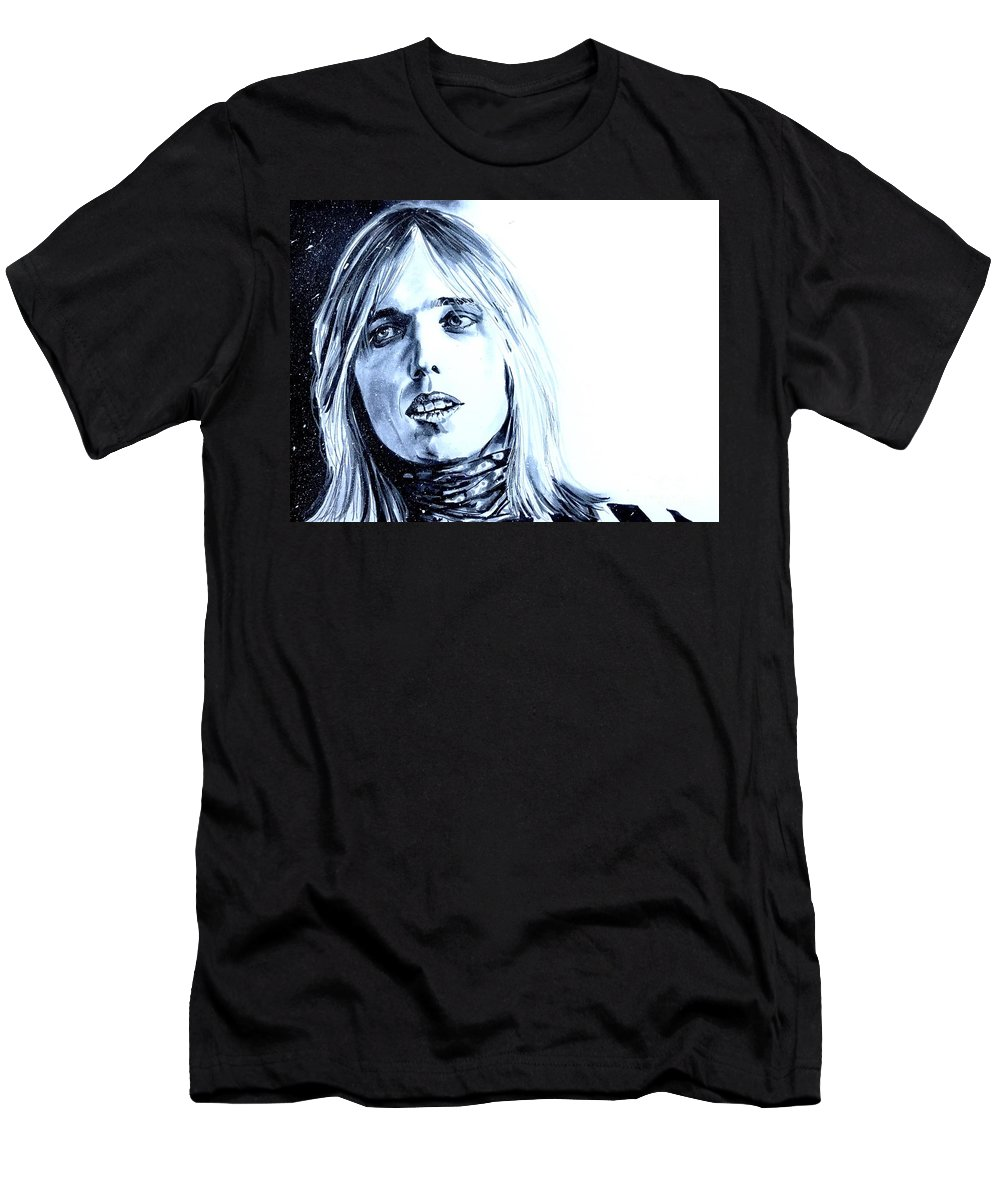 Tom Petty Men's T-Shirt (Athletic Fit) featuring the painting Tom Petty by Joel Tesch