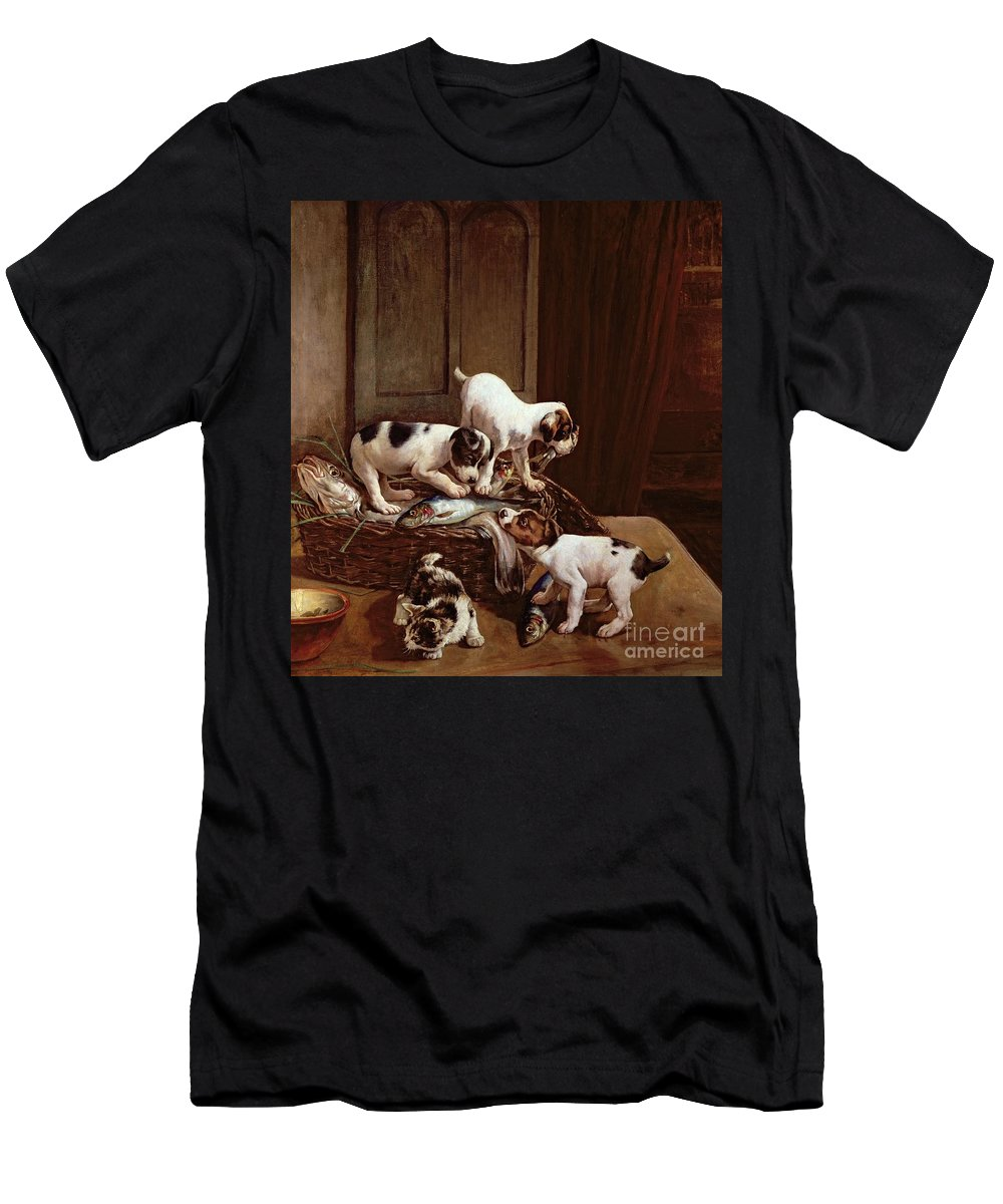 Tomorrow Will Be Friday By John Hayes (fl.1897-1902) Men's T-Shirt (Athletic Fit) featuring the painting Tomorrow Will Be Friday by John Hayes