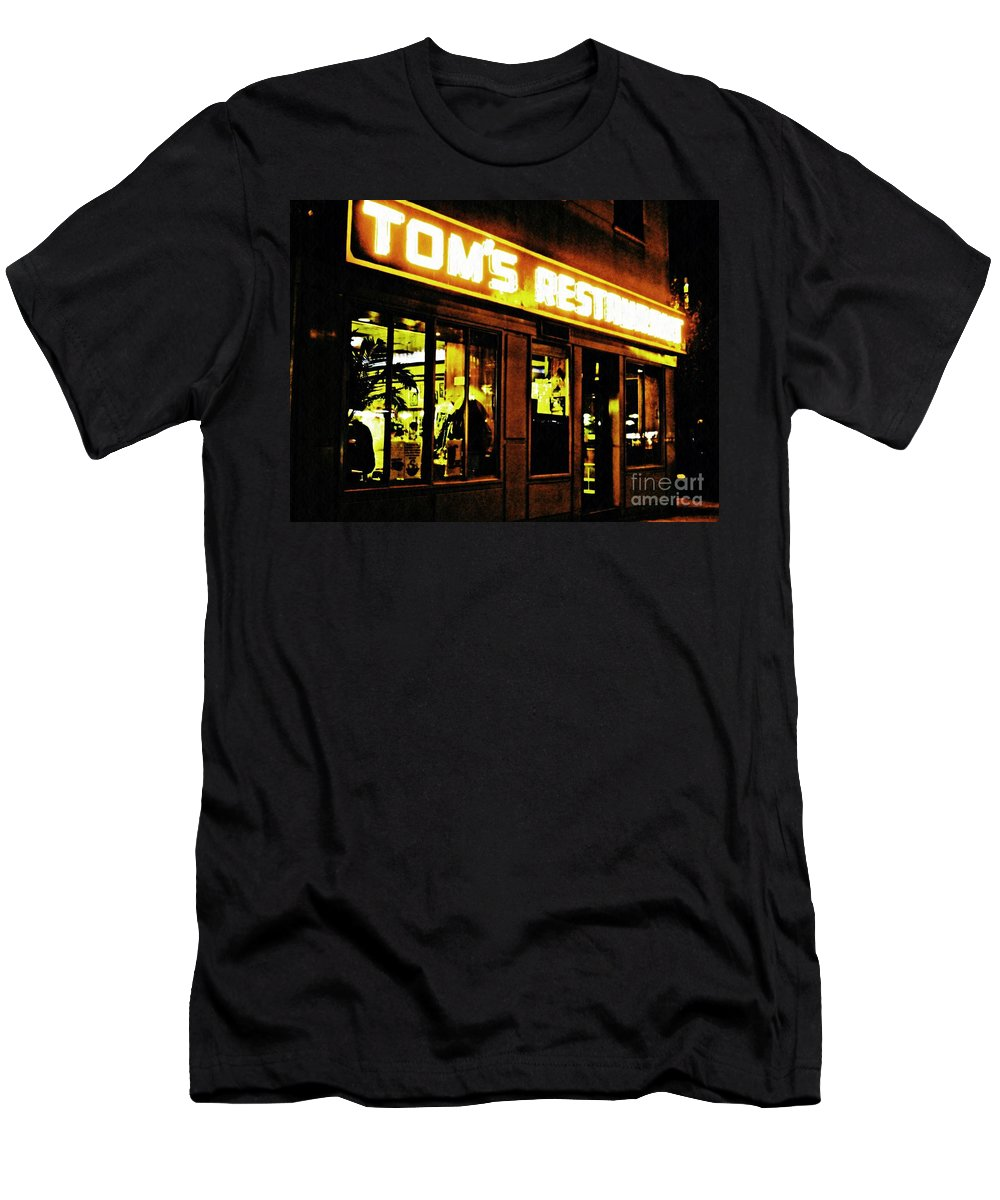 Diner Men's T-Shirt (Athletic Fit) featuring the photograph Tom's Restaurant by Sarah Loft