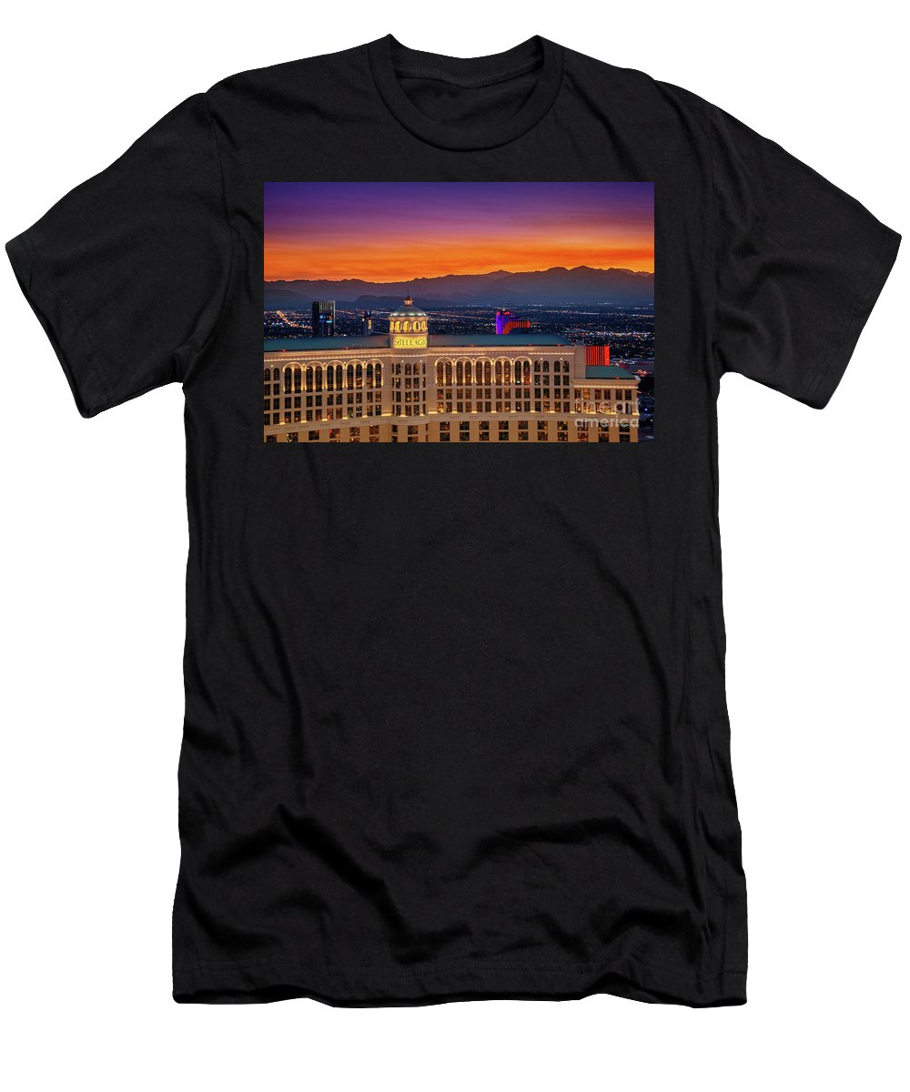 Bellagio Men's T-Shirt (Athletic Fit) featuring the photograph Top Of The Bellagio After Sunset by Aloha Art