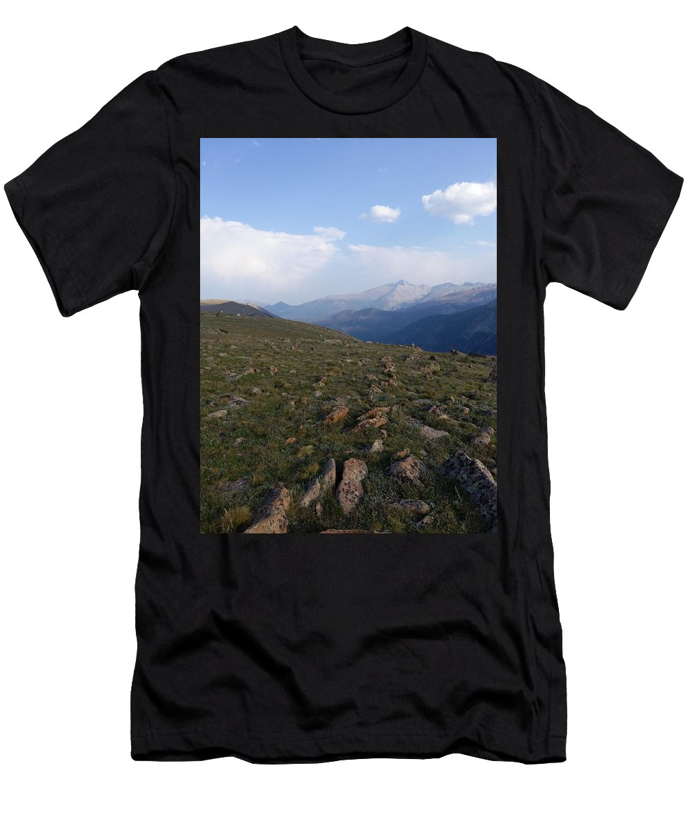 Landscape Men's T-Shirt (Athletic Fit) featuring the photograph Top Of The Rockies by Lesli Sherwin