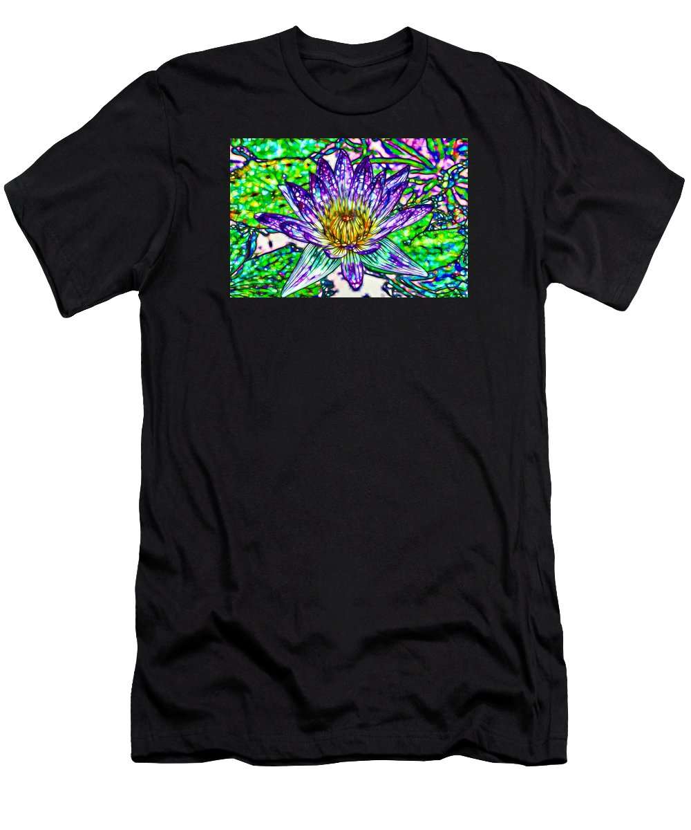 Top View Of A Beautiful Purple Lotus Men's T-Shirt (Athletic Fit) featuring the painting Top View Of A Beautiful Purple Lotus by Jeelan Clark