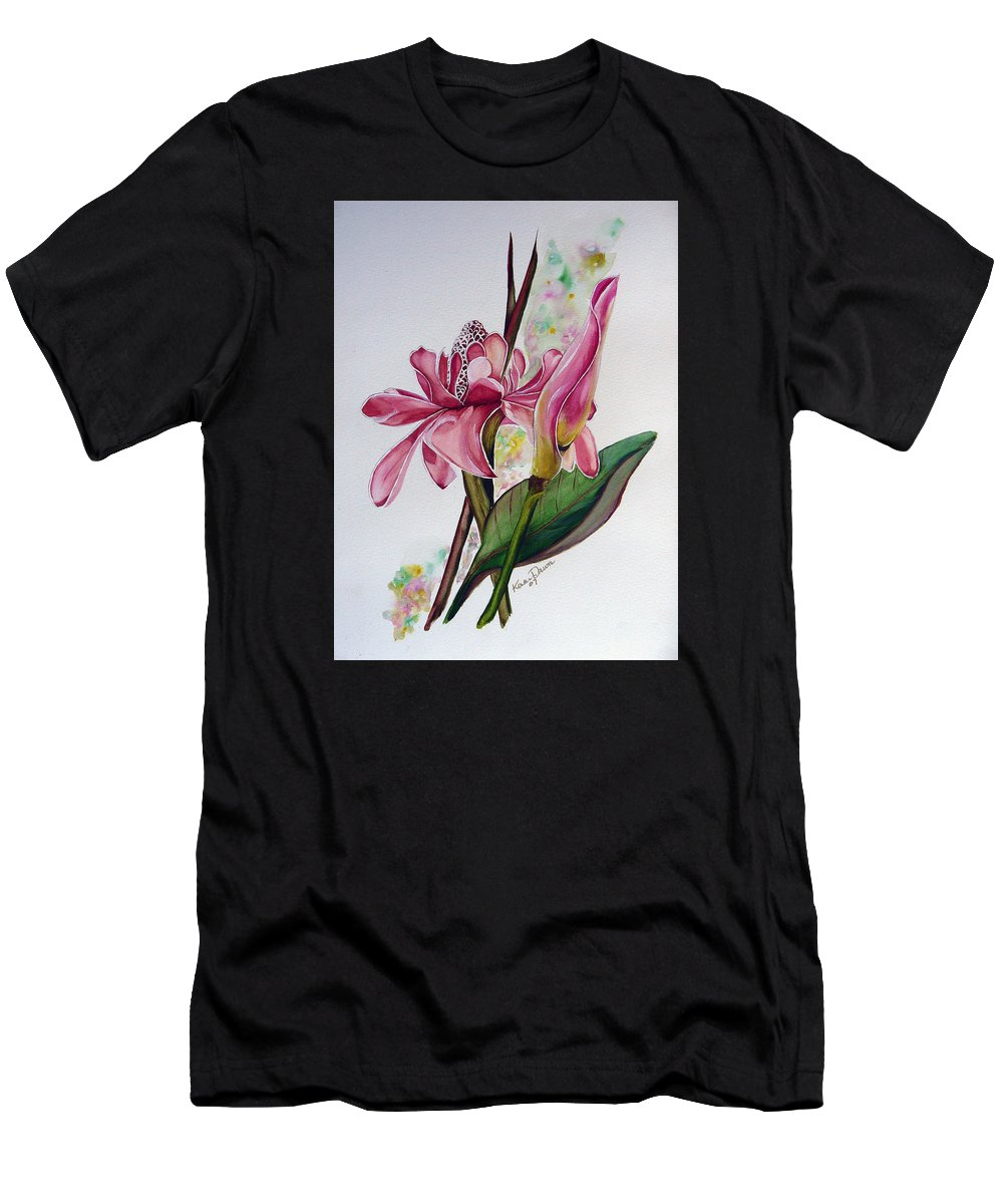 Flower Painting Floral Painting Botanical Painting Flowering Ginger. Men's T-Shirt (Athletic Fit) featuring the painting Torch Ginger Lily by Karin Dawn Kelshall- Best