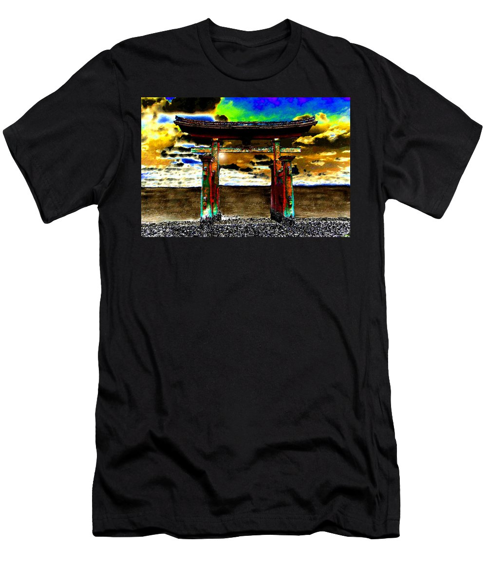 Art Men's T-Shirt (Athletic Fit) featuring the painting Torii Sunrise by David Lee Thompson