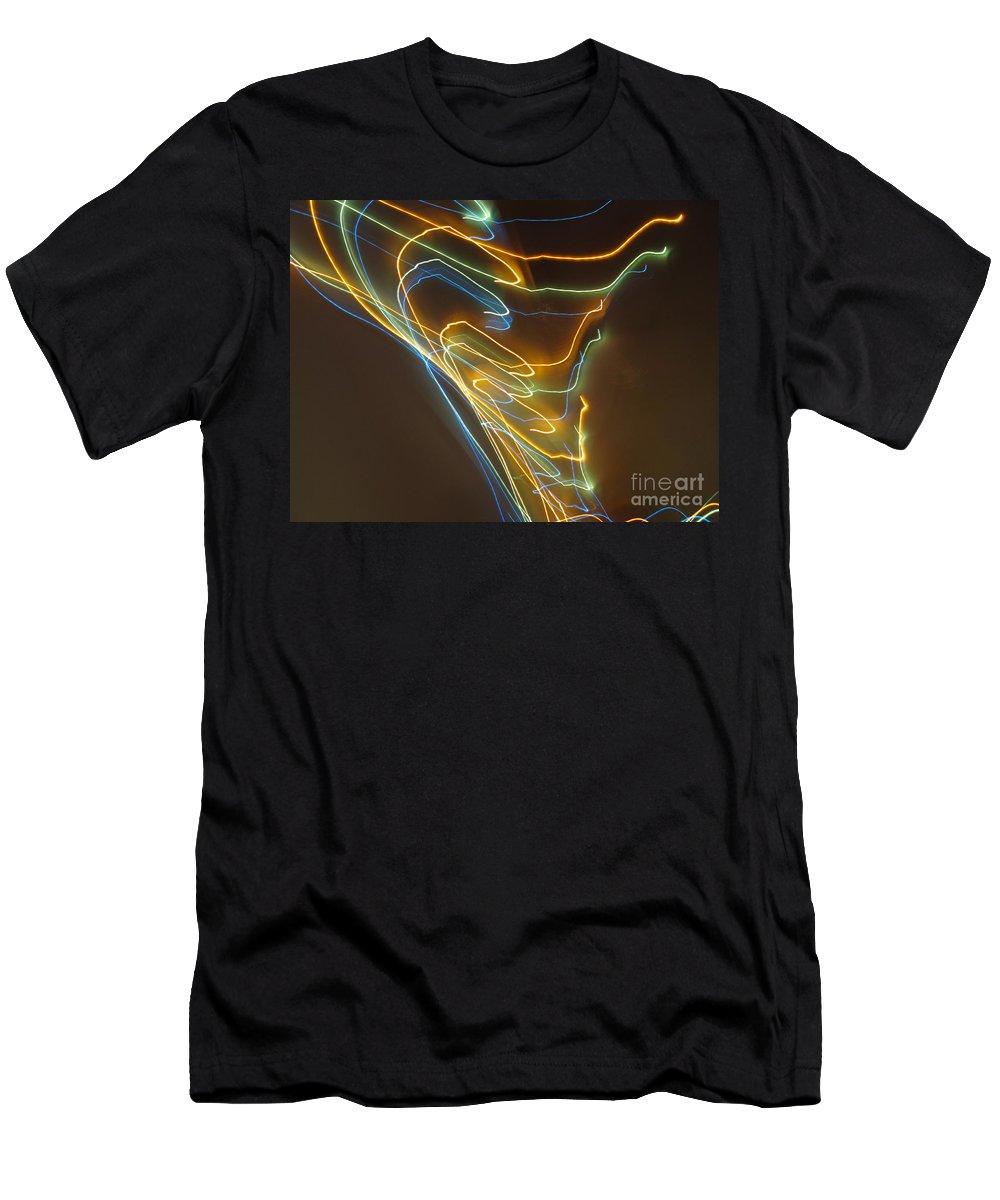 Dancing Lights Men's T-Shirt (Athletic Fit) featuring the photograph Tornado Of Lights. Dancing Lights Series by Ausra Huntington nee Paulauskaite