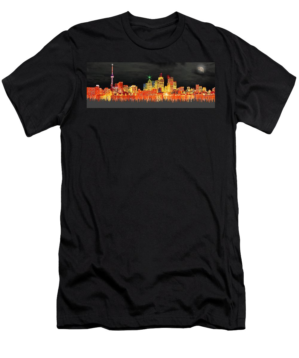 Toronto Men's T-Shirt (Athletic Fit) featuring the digital art Toronto, Canada by Edelberto Cabrera