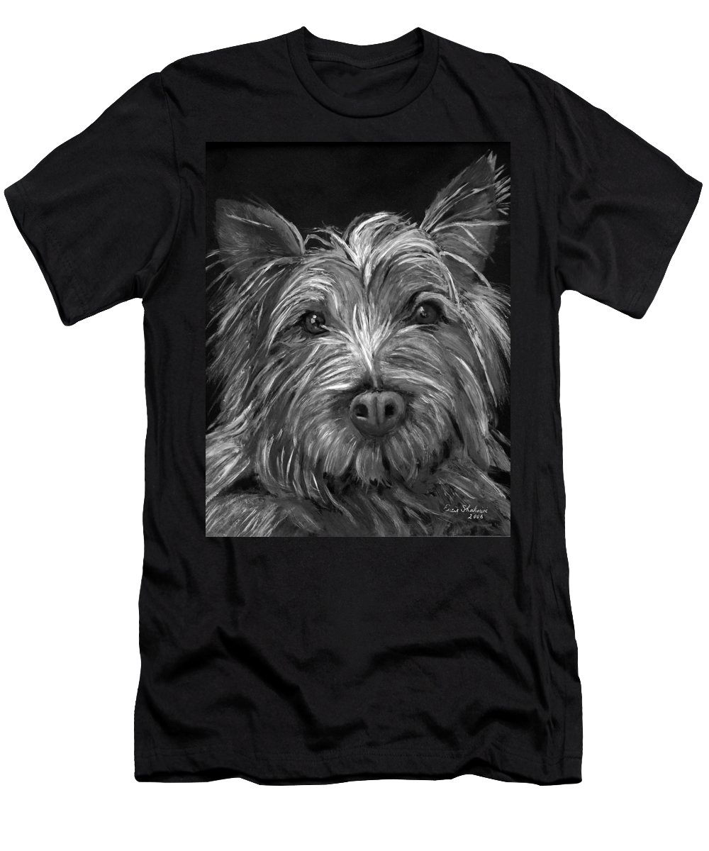 Dogs Men's T-Shirt (Athletic Fit) featuring the painting Tosha The Highland Terrier by Portraits By NC