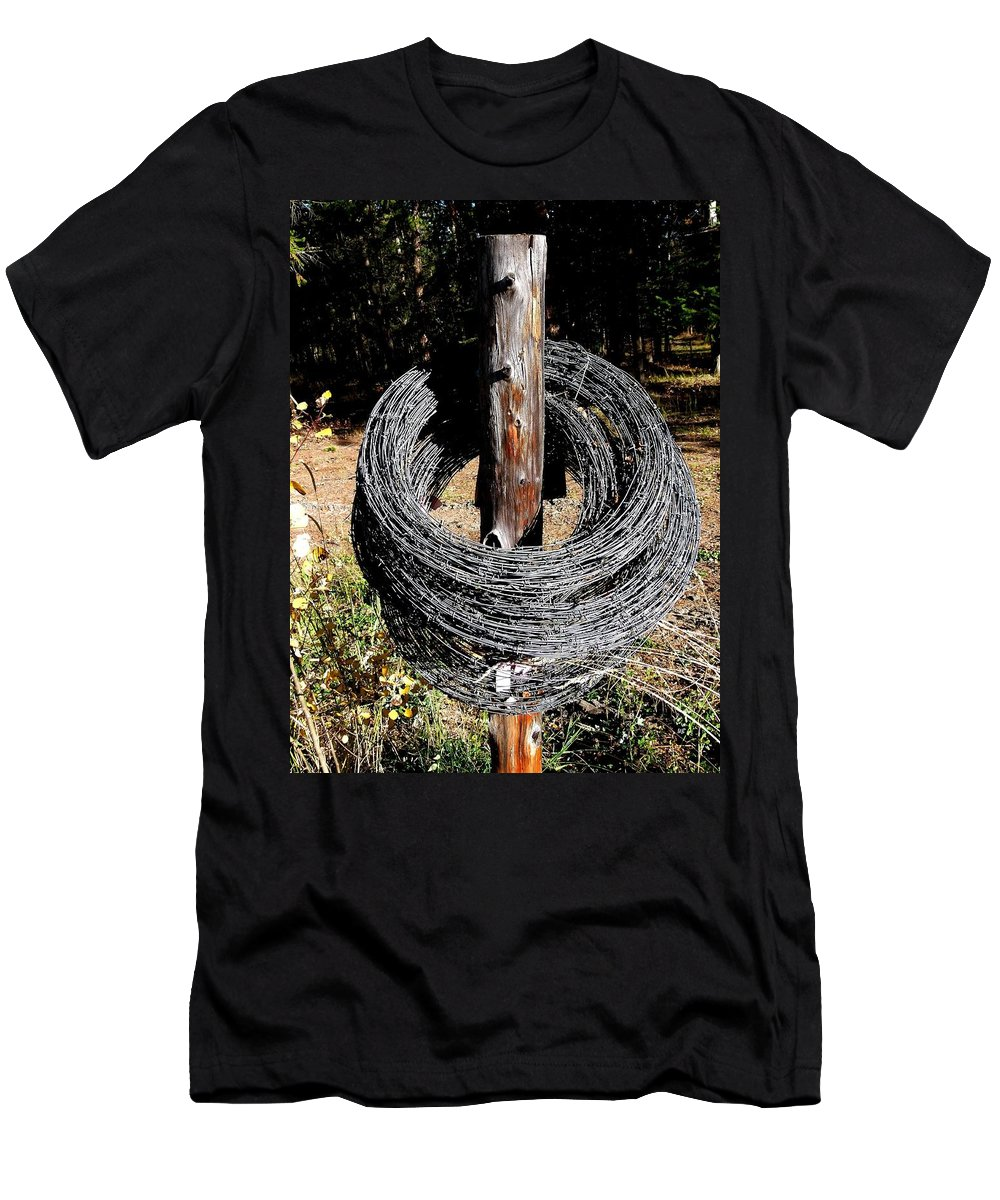 Barbed Wire Men's T-Shirt (Athletic Fit) featuring the photograph Totally Wired by Will Borden