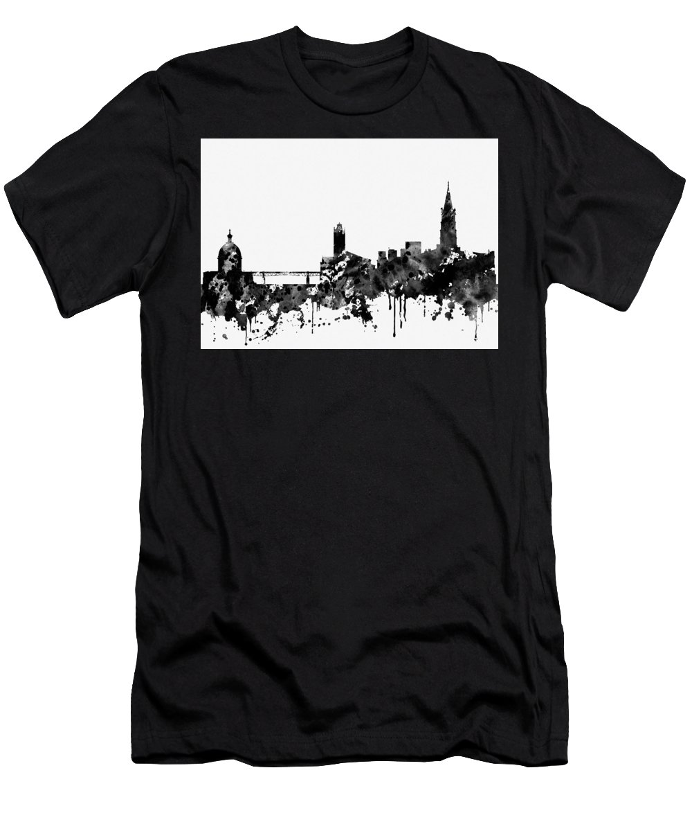 Toulouse Skyline Men's T-Shirt (Athletic Fit) featuring the digital art Toulouse Skyline-black by Erzebet S