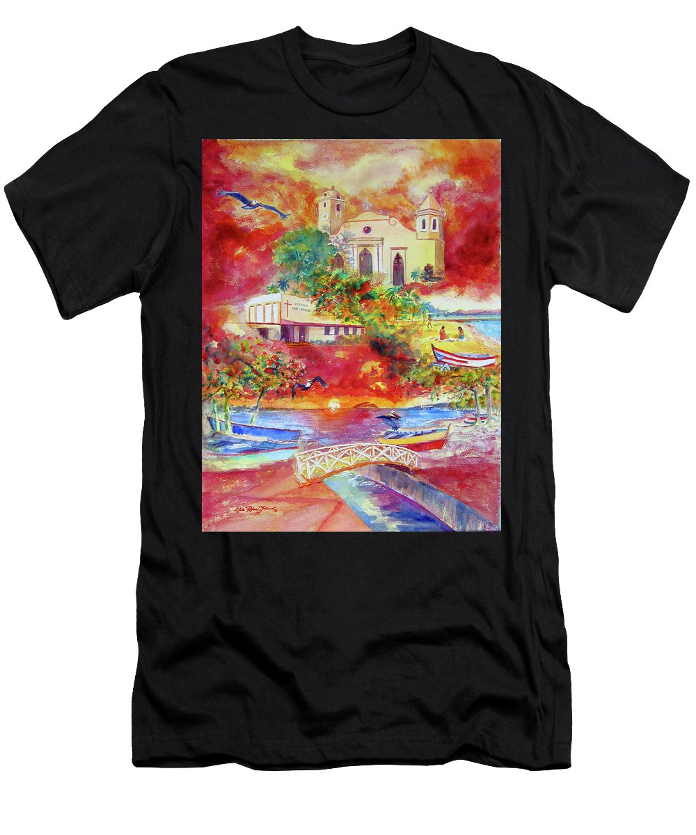 Watercolor Paintings Men's T-Shirt (Athletic Fit) featuring the painting Tour Around Aguadilla Puerto Rico by Estela Robles
