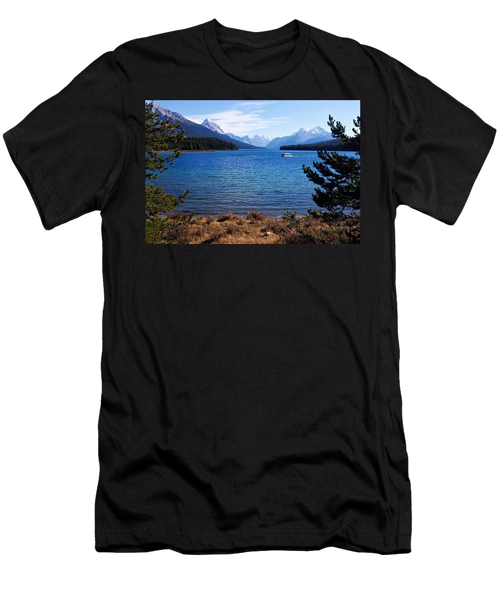 Maligne Lake Men's T-Shirt (Athletic Fit) featuring the photograph Touring Maligne Lake by Larry Ricker