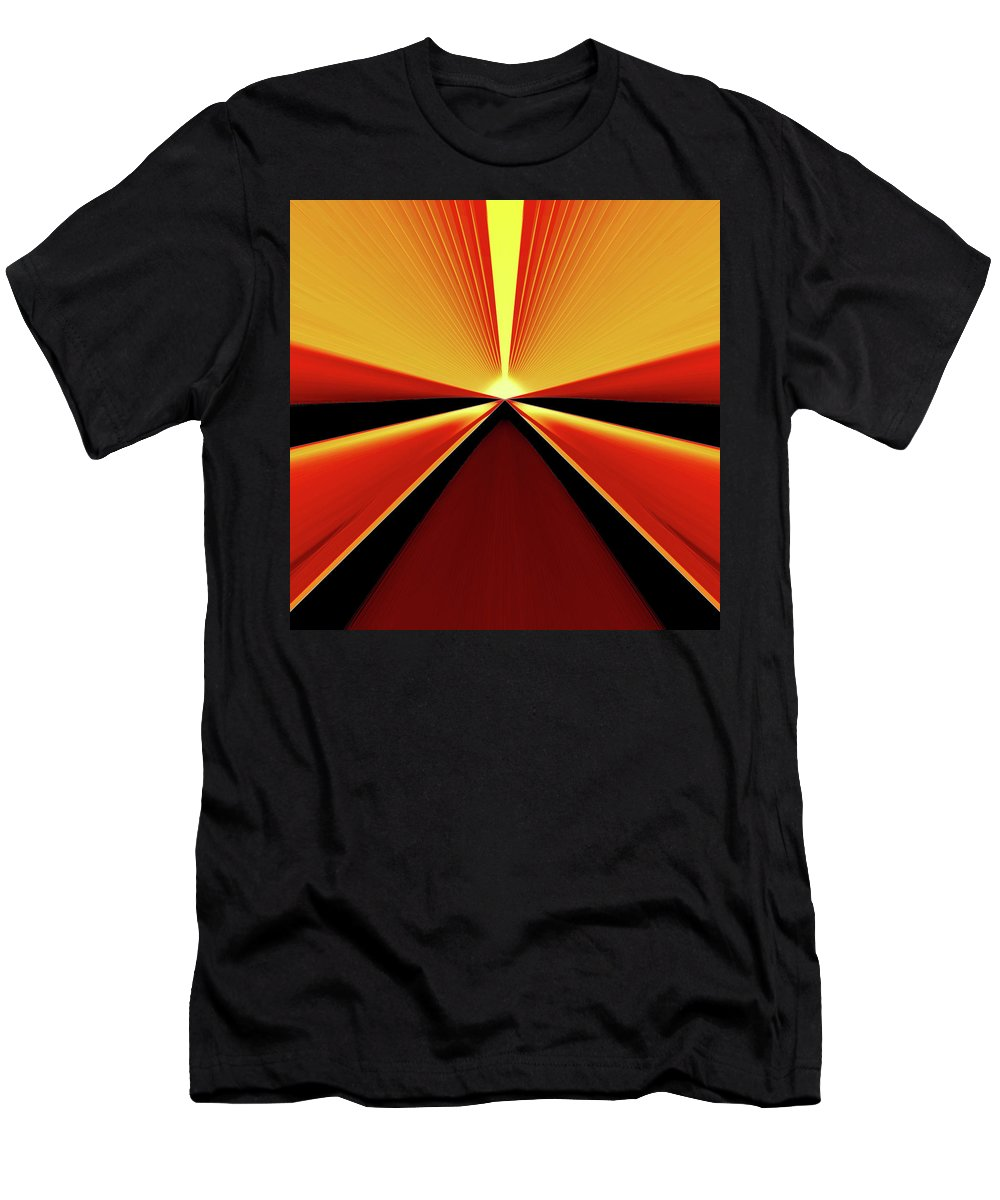 Sun Men's T-Shirt (Athletic Fit) featuring the digital art Towards The Streaking Sunrise by Andy Young