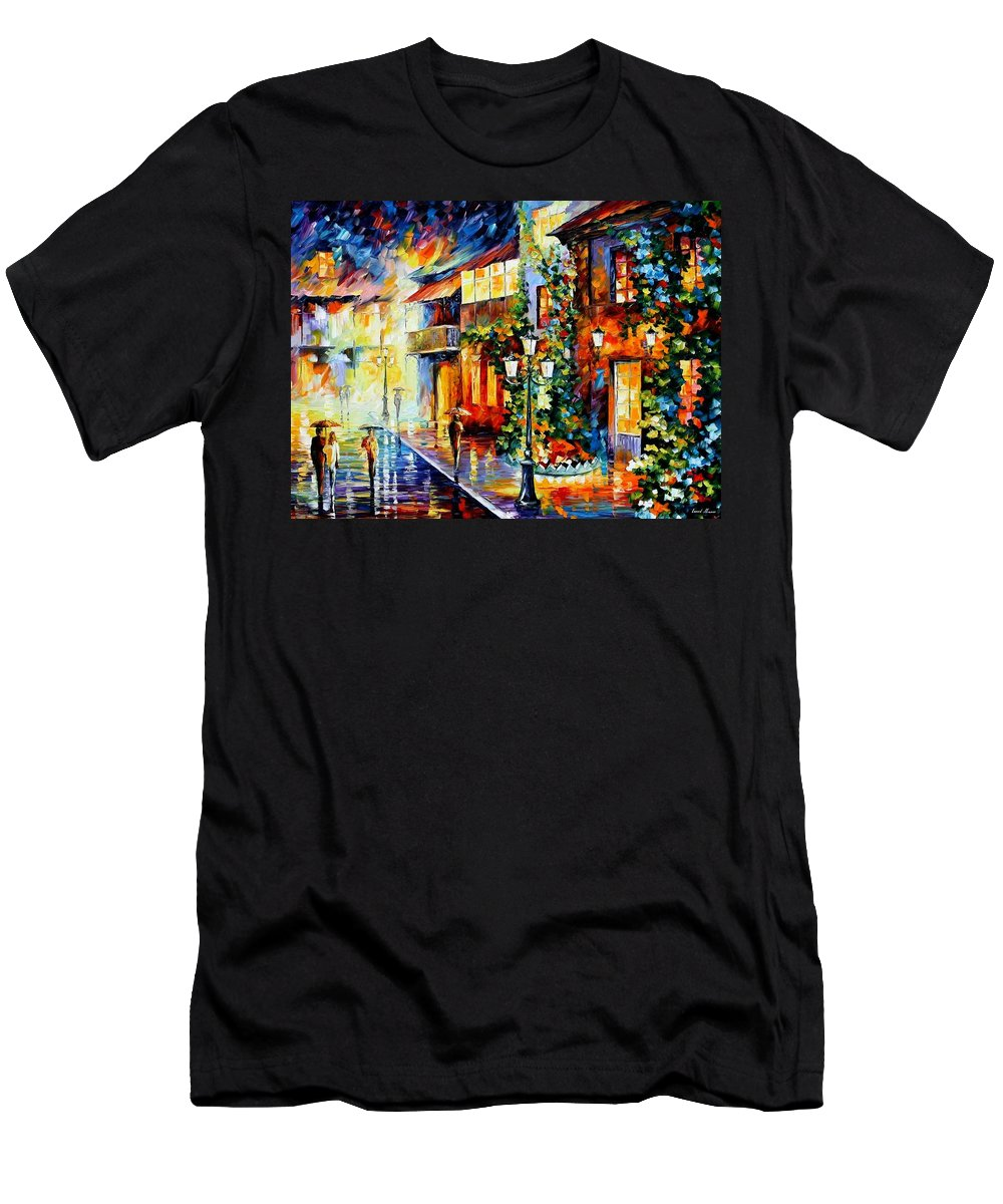 Afremov Men's T-Shirt (Athletic Fit) featuring the painting Town From The Dream by Leonid Afremov
