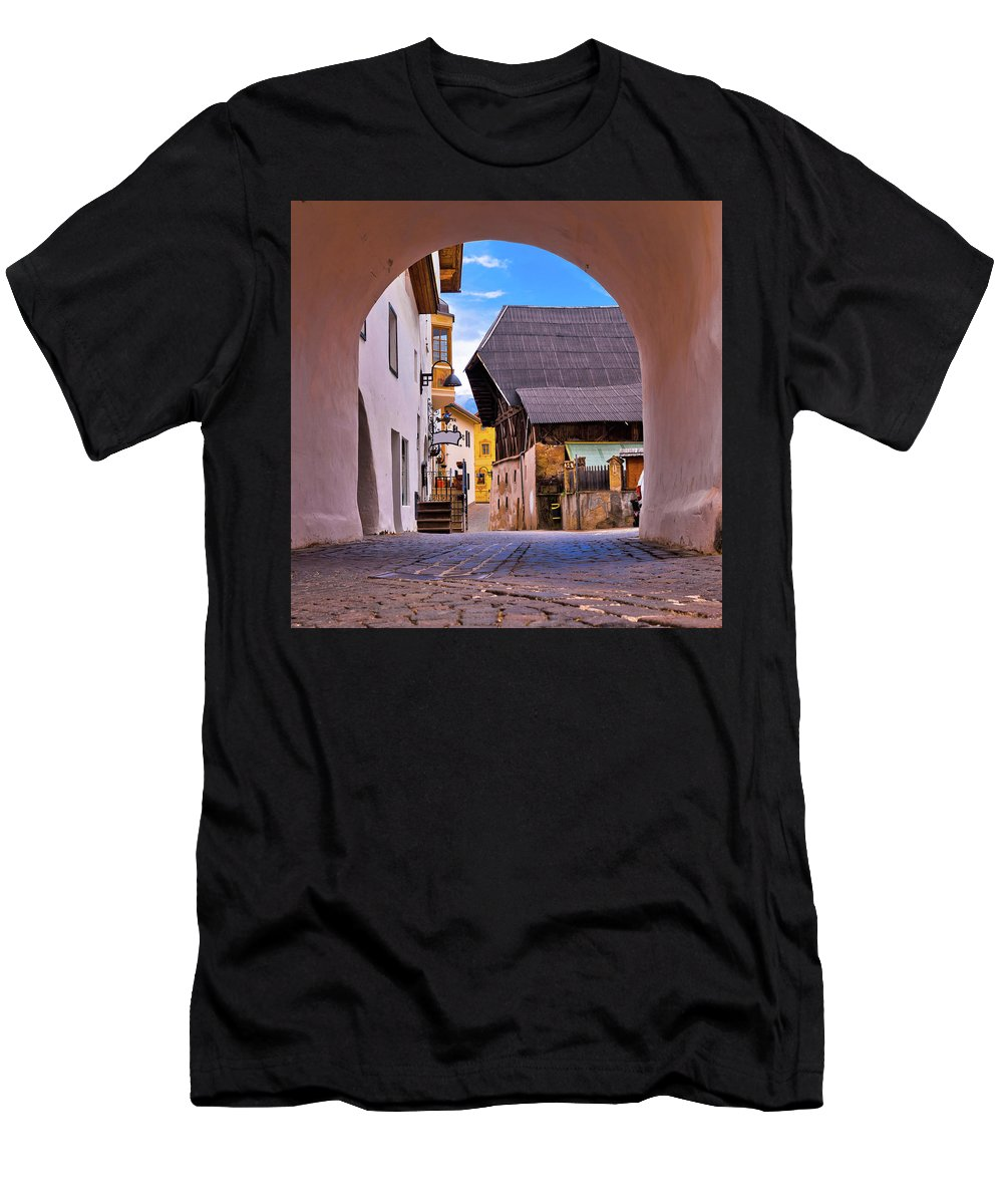 Kastelruth Men's T-Shirt (Athletic Fit) featuring the photograph Town Of Kastelruth In Alps Street View by Brch Photography