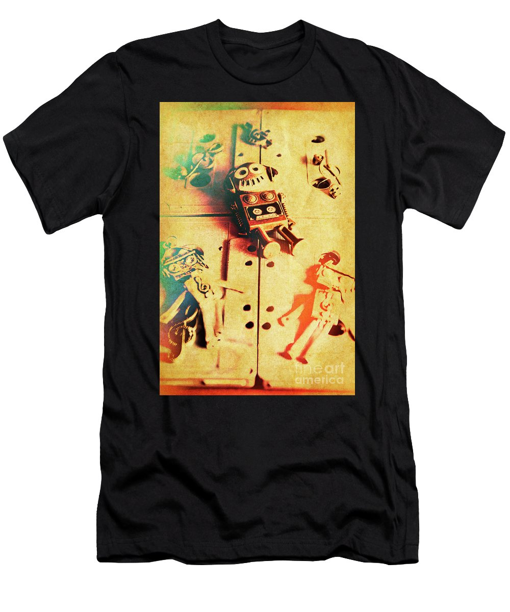 Retro T-Shirt featuring the photograph Toy Robots On Vintage Cassettes by Jorgo Photography - Wall Art Gallery