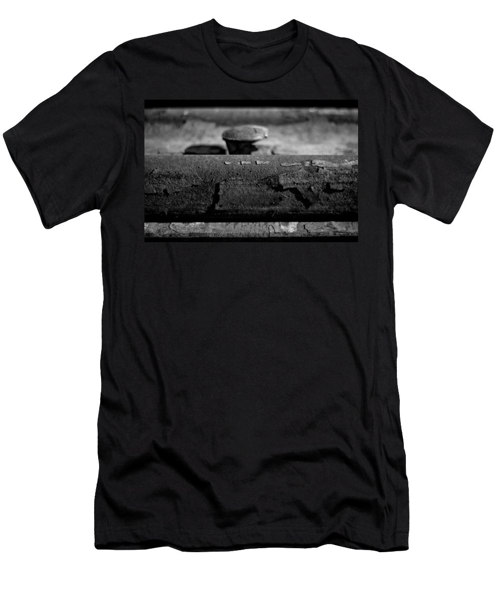 Black And White Photograph Men's T-Shirt (Athletic Fit) featuring the photograph Tracks And Bolts by Mike Oistad