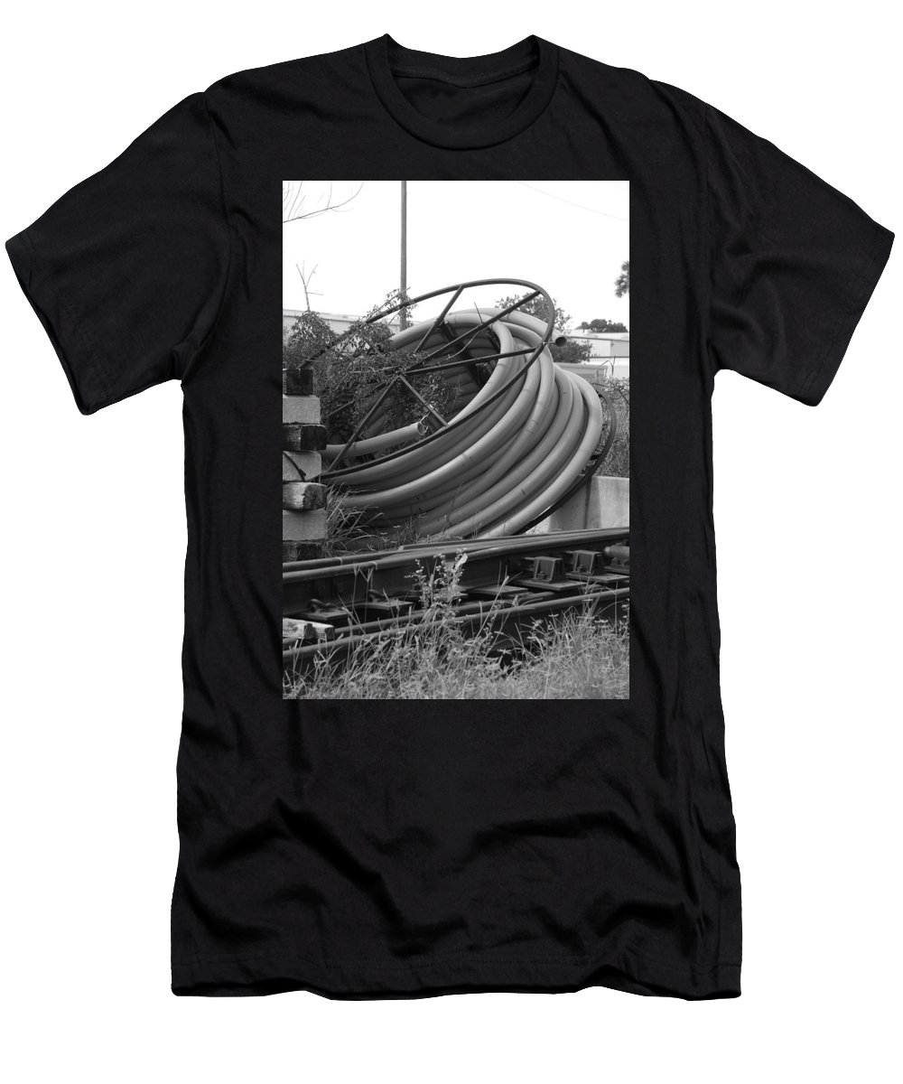 Blacka Nd White Men's T-Shirt (Athletic Fit) featuring the photograph Tracks And Cable by Rob Hans