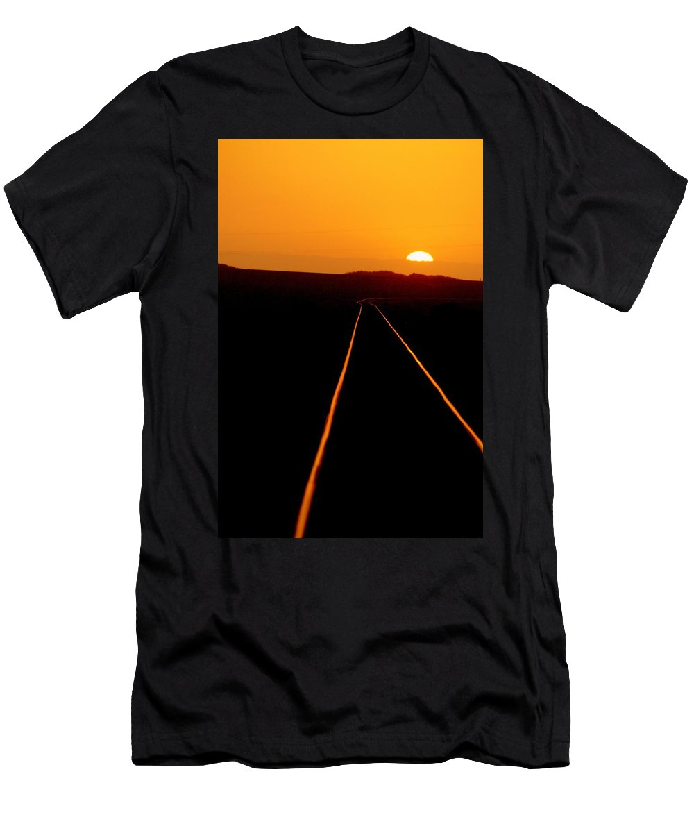 Train Track Men's T-Shirt (Athletic Fit) featuring the photograph Tracks Of My Tears by Lynn Andrews