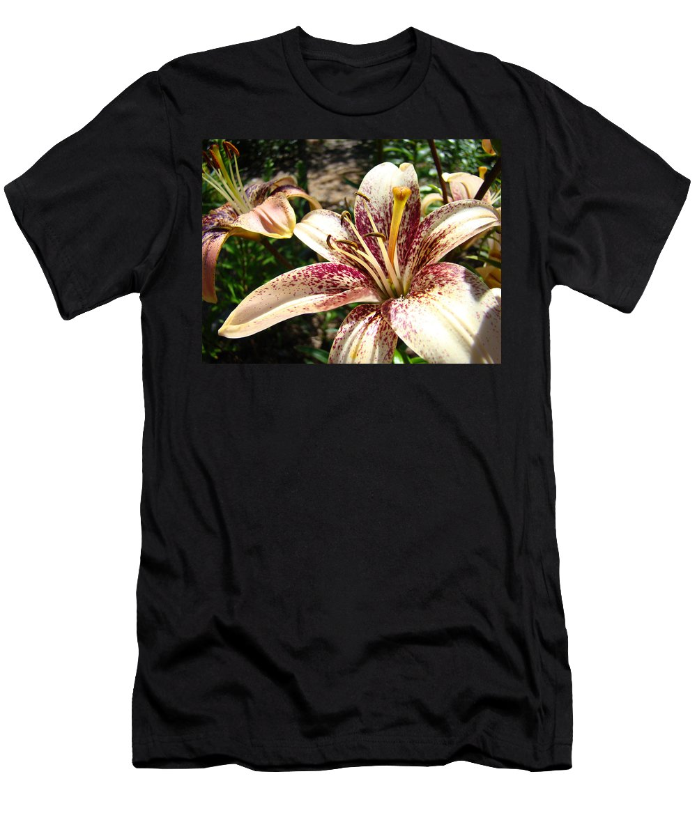 Lilies Men's T-Shirt (Athletic Fit) featuring the photograph Traditional Art Lily Flowers Floral Garden Baslee Troutman by Baslee Troutman