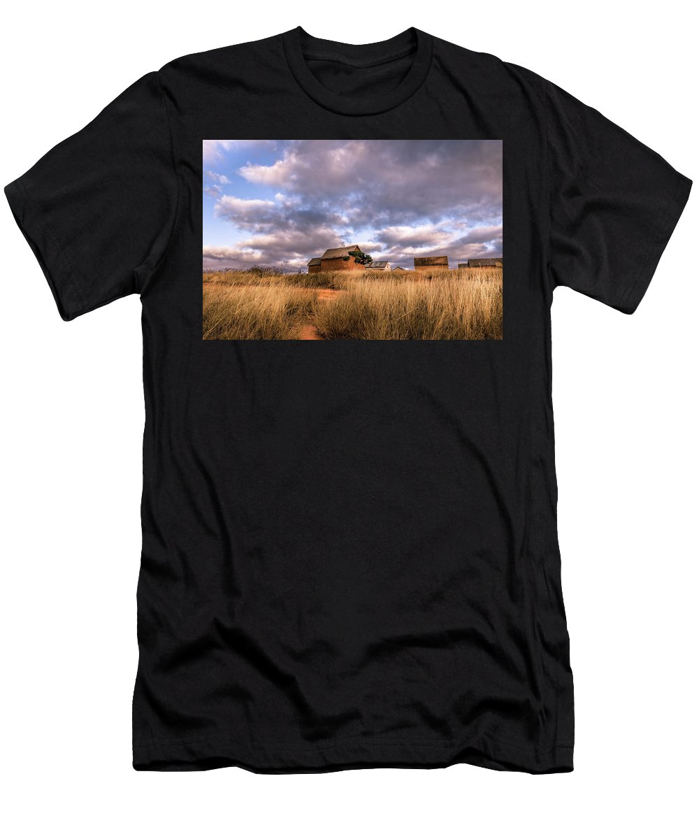 Tananarive Men's T-Shirt (Athletic Fit) featuring the photograph Traditional Hut Of Madagascar Countryside by Louloua Asgaraly