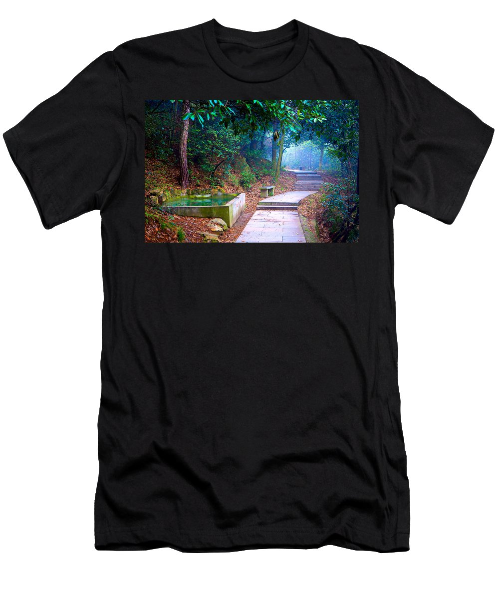 Trail Men's T-Shirt (Athletic Fit) featuring the photograph Trail In Woods by James O Thompson