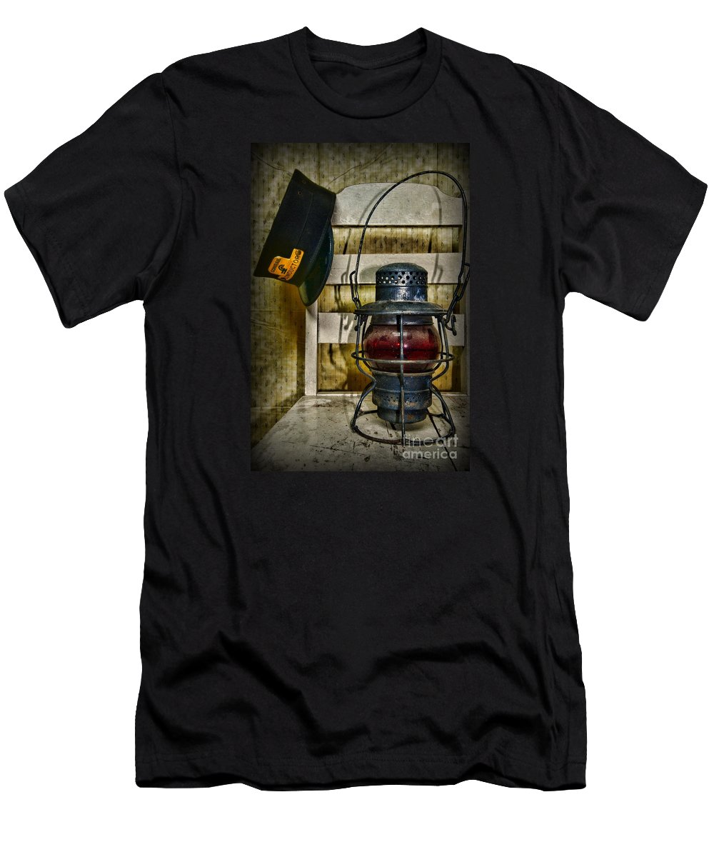 Paul Ward Men's T-Shirt (Athletic Fit) featuring the photograph Train Conductor Takes A Break by Paul Ward