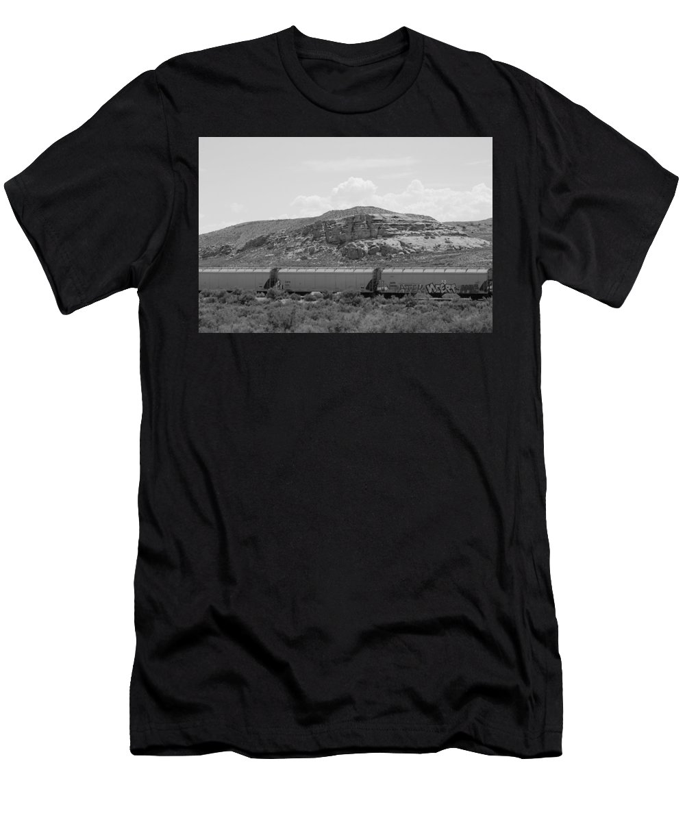 Black And White Photography Men's T-Shirt (Athletic Fit) featuring the photograph Train In Desert In Black And White 2 by Colleen Cornelius