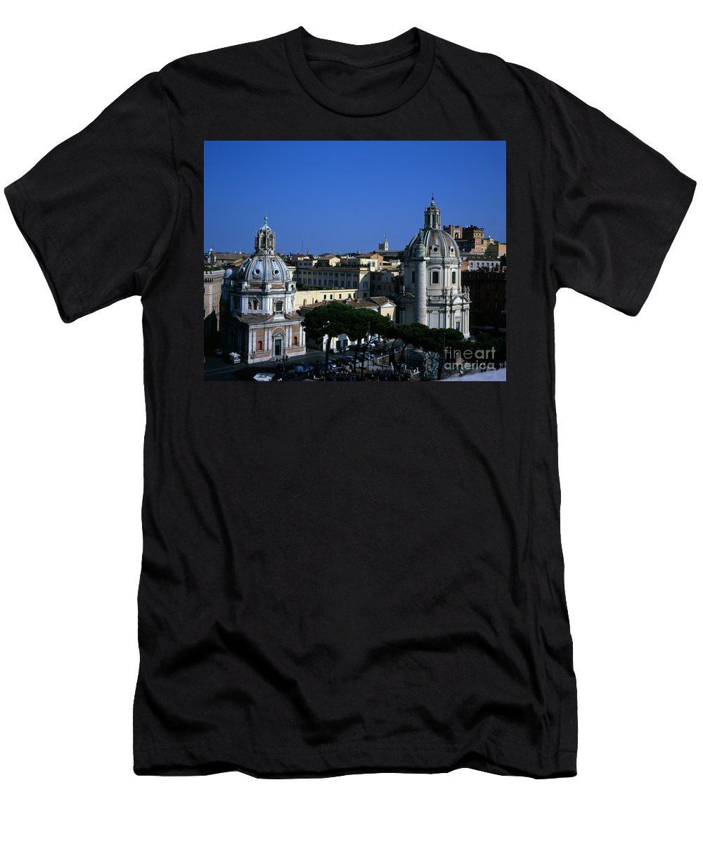 Santa Maria Di Loreto Men's T-Shirt (Athletic Fit) featuring the photograph Trajan's Column Church Of Santa Maria Di Loreto Church Of Our Lady Giclee Rome Italy by Michael Walters