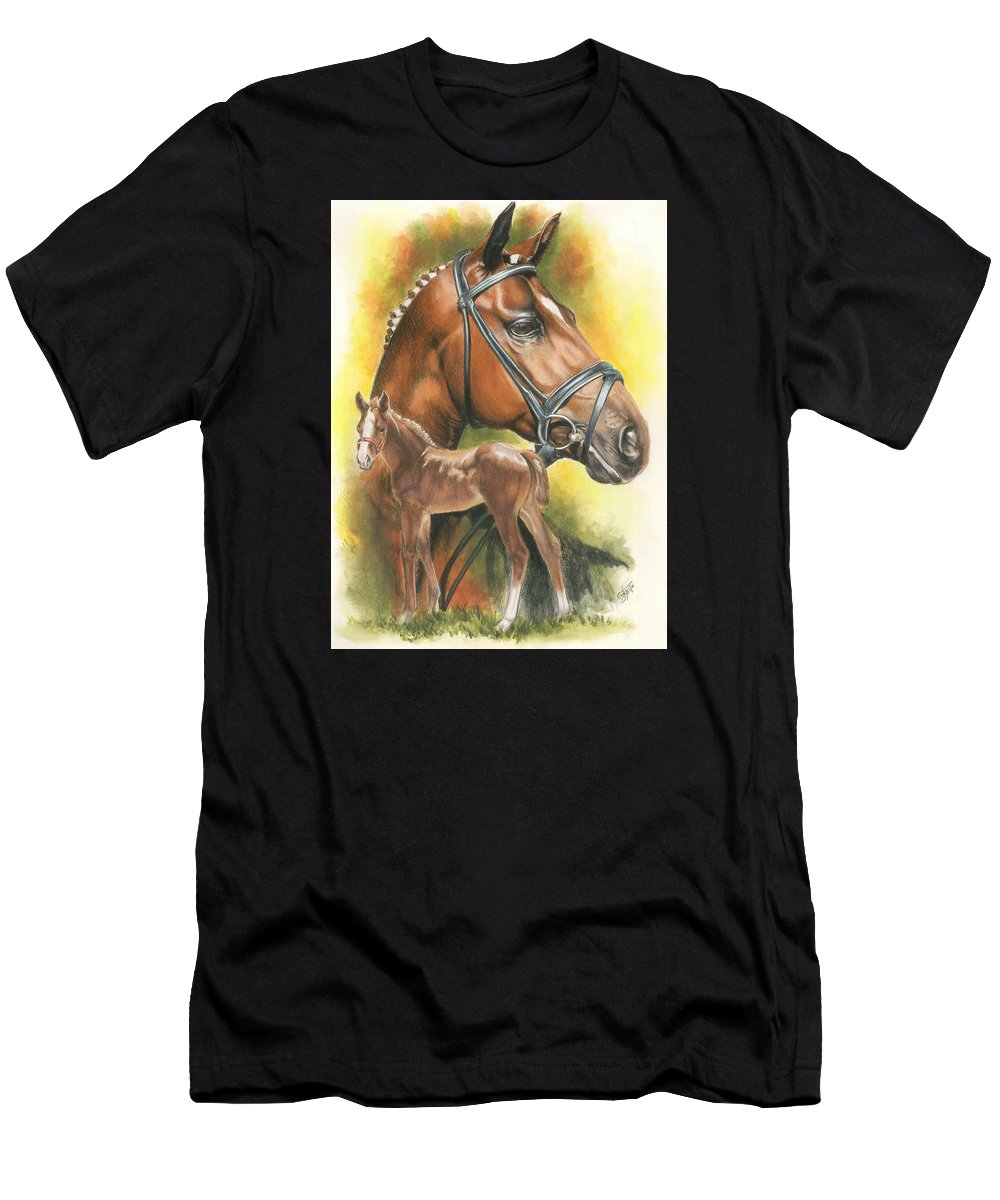 Jumper Hunter Men's T-Shirt (Athletic Fit) featuring the mixed media Trakehner by Barbara Keith