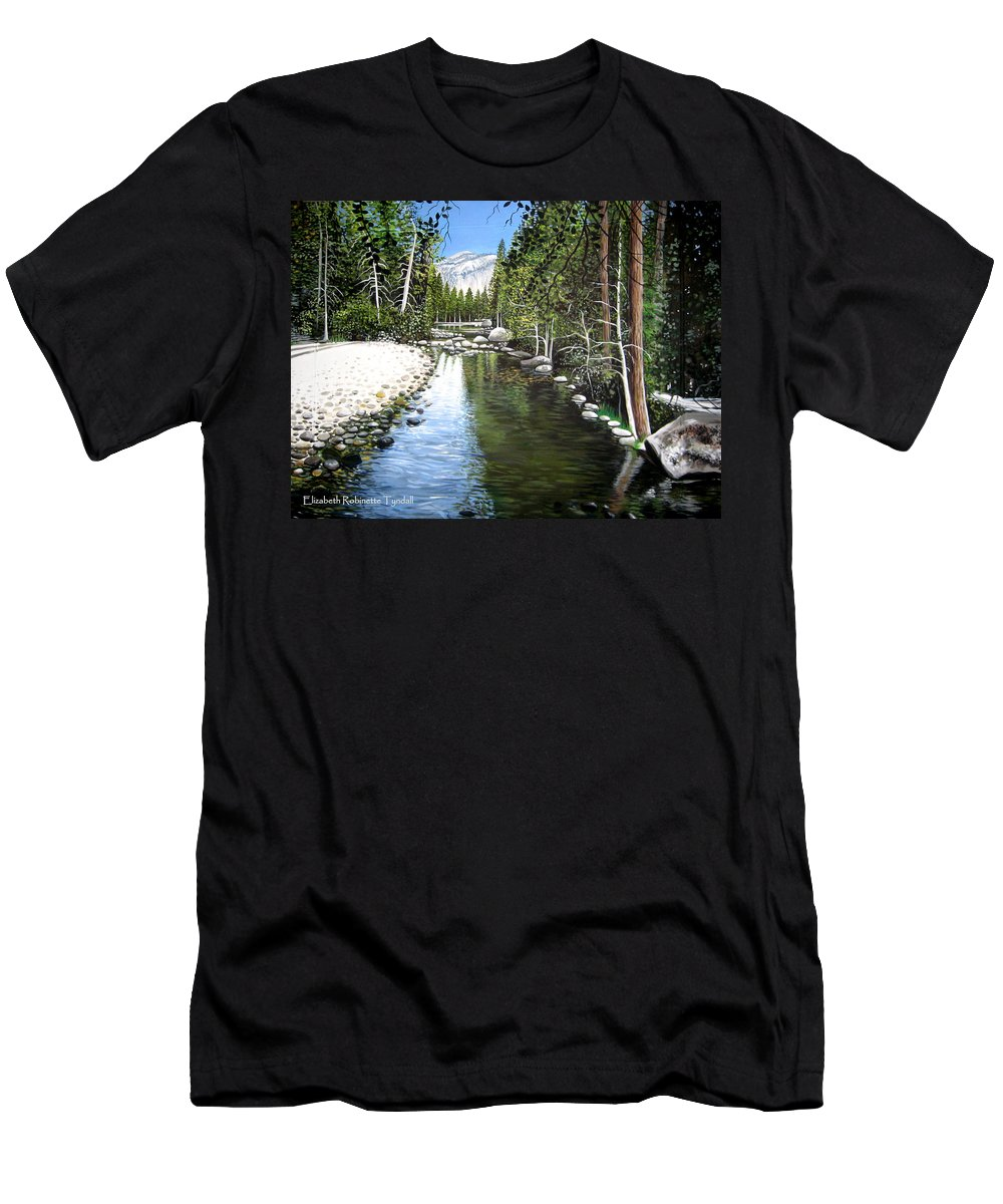 Trees Men's T-Shirt (Athletic Fit) featuring the painting Tranquil Forest by Elizabeth Robinette Tyndall