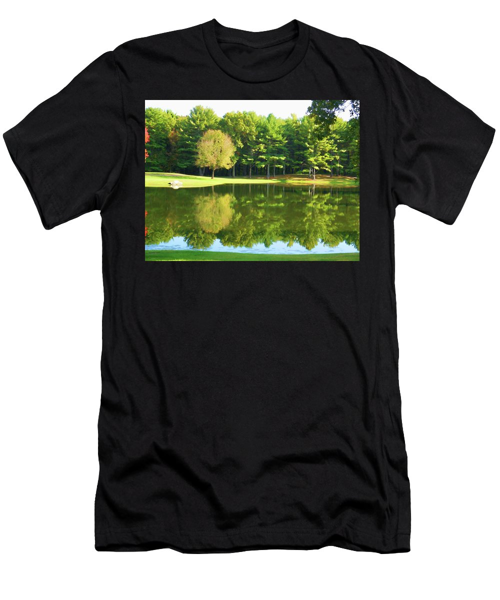 Tranquil Landscape At A Lake Men's T-Shirt (Athletic Fit) featuring the painting Tranquil Landscape At A Lake 2 by Jeelan Clark