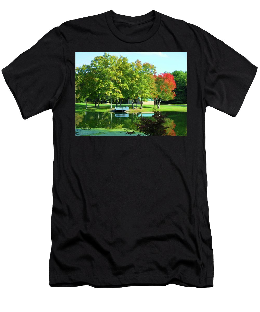 Tranquil Landscape At A Lake Men's T-Shirt (Athletic Fit) featuring the painting Tranquil Landscape At A Lake 4 by Jeelan Clark