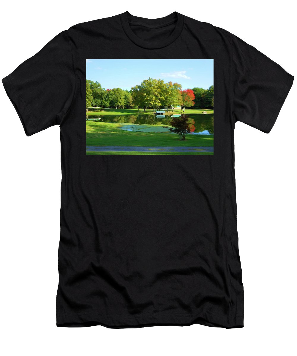 Tranquil Landscape At A Lake Men's T-Shirt (Athletic Fit) featuring the painting Tranquil Landscape At A Lake 5 by Jeelan Clark