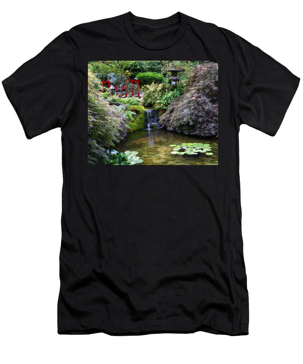Japanese Garden Men's T-Shirt (Athletic Fit) featuring the photograph Tranquility In A Japanese Garden by Laurel Talabere