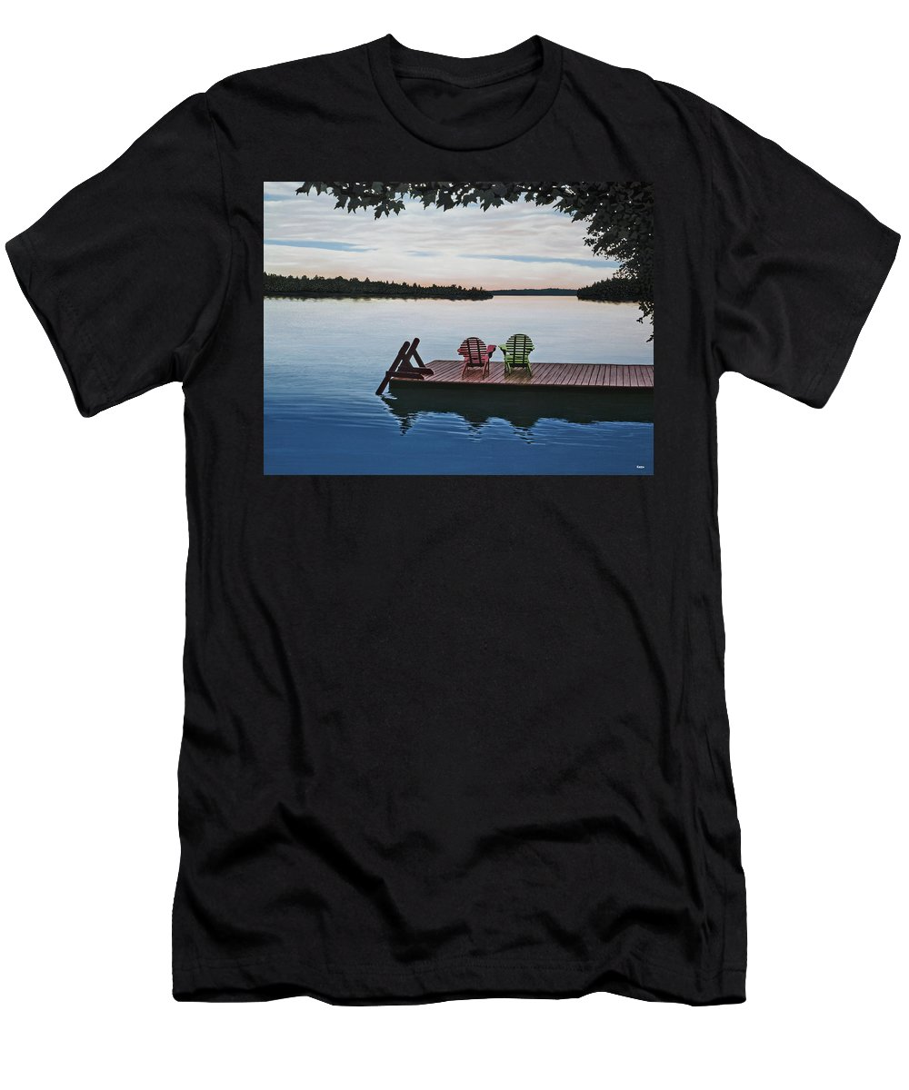 Landscapes Paintings Men's T-Shirt (Athletic Fit) featuring the painting Tranquility by Kenneth M Kirsch