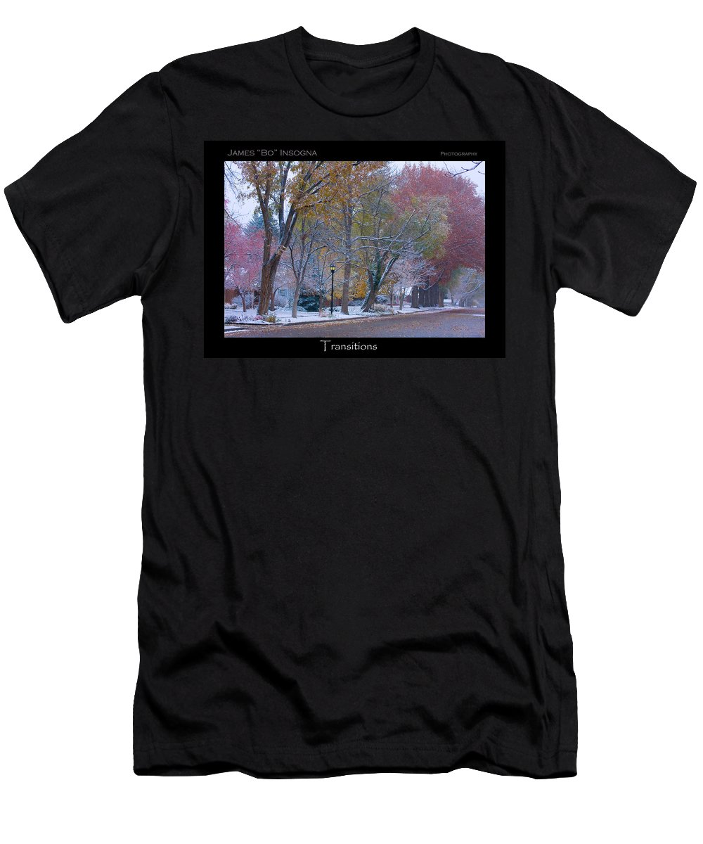 Country Men's T-Shirt (Athletic Fit) featuring the photograph Transitions Autumn To Winter Snow Poster by James BO Insogna