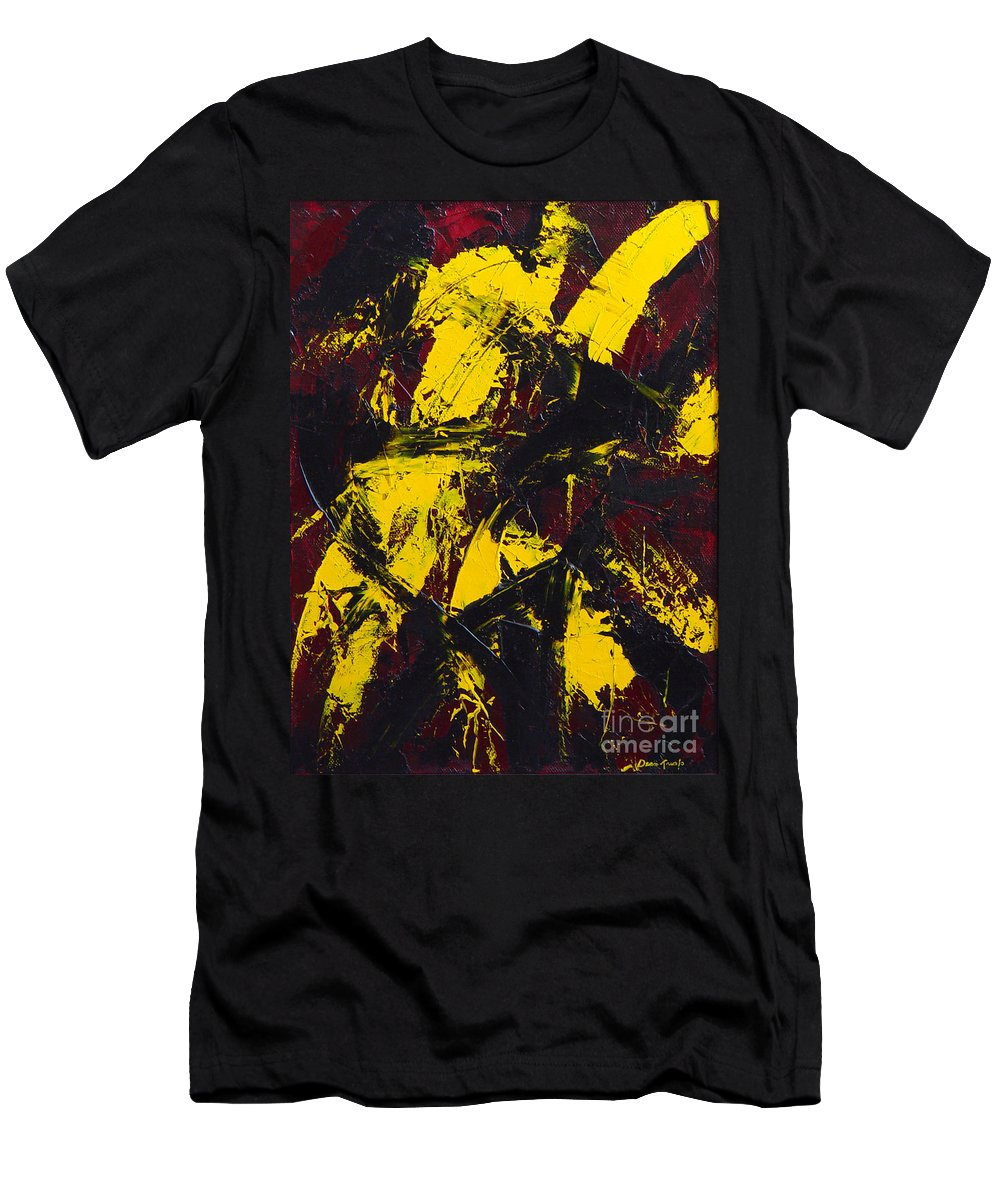 Abstract Men's T-Shirt (Athletic Fit) featuring the painting Transitions With Yelllow And Black by Dean Triolo