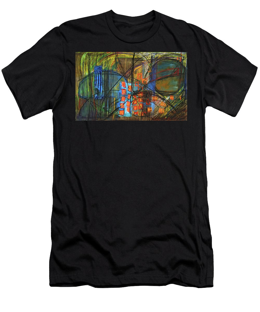 Abstract Painting Men's T-Shirt (Athletic Fit) featuring the painting Transportation by Jean Stark