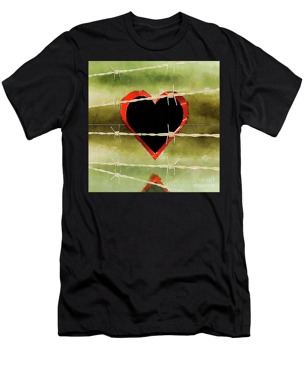 Heart Men's T-Shirt (Athletic Fit) featuring the painting Trapped Heart by Pierre Blanchard