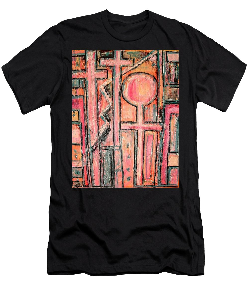 Cross Men's T-Shirt (Athletic Fit) featuring the painting Trappings Of Love Abstract Art Painting by Kathy Augustine