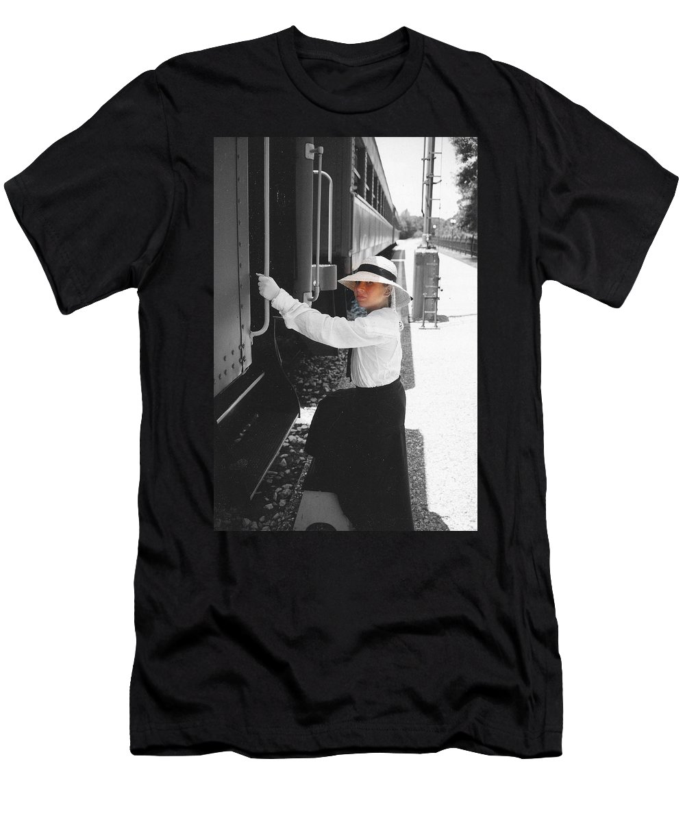 Snood Men's T-Shirt (Athletic Fit) featuring the photograph Traveling By Train - Black And White Focal by Cindy New