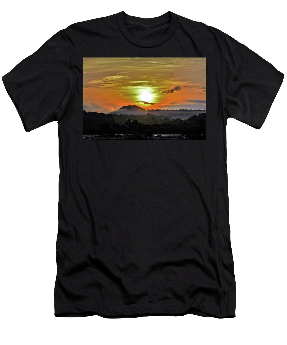 Sunset Men's T-Shirt (Athletic Fit) featuring the photograph Traveling Sunrise by Chad Fuller